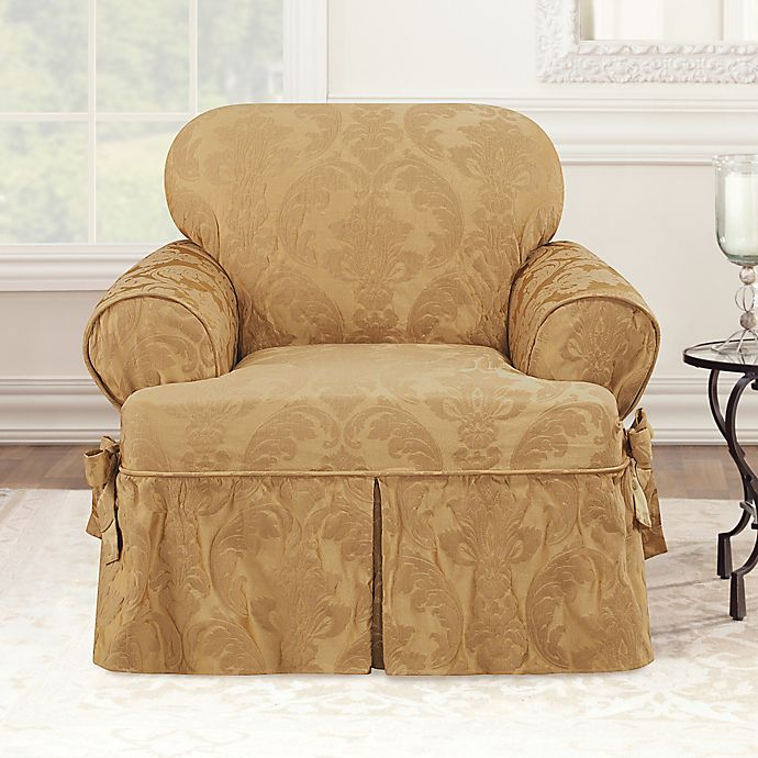 Sure Fit Matelasse Damask T Cushion Chair Slipcover Bed Bath Beyond