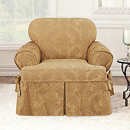 Sure Fit® Matelasse Damask  T-Cushion Chair Slipcover