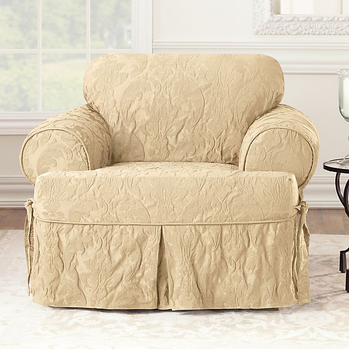 Alternate image 1 for Sure Fit® Matelasse Damask T-Cushion Chair Slipcover in Tan