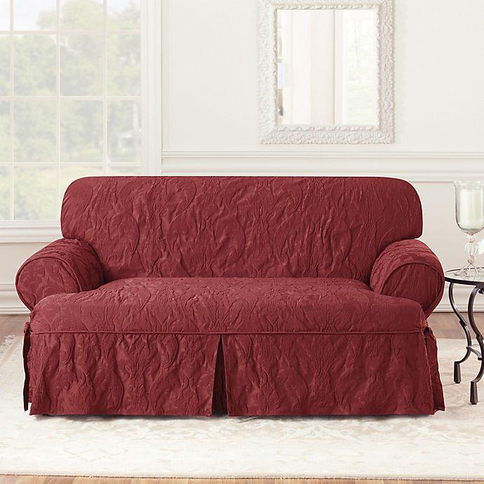 Alternate image 1 for Sure Fit® Matelasse Damask 1-Piece T-Cushion Loveseat Slipcover