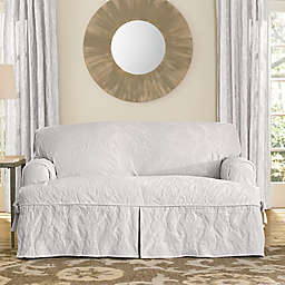 Sure Fit® Matelasse Damask 1-Piece T-Cushion Loveseat Slipcover in White