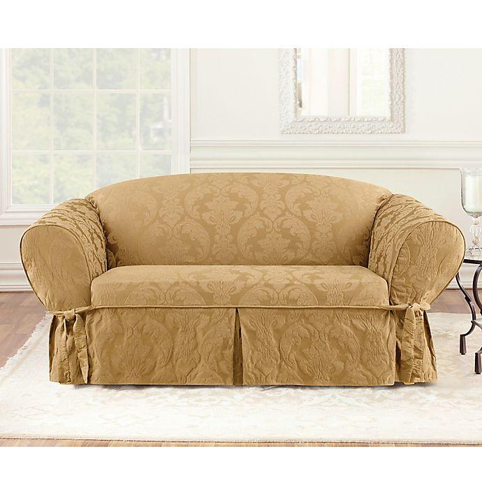Matele Damask 1 Piece Sofa Slipcover