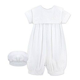 2-Piece Christening Coverall and Hat Set in White