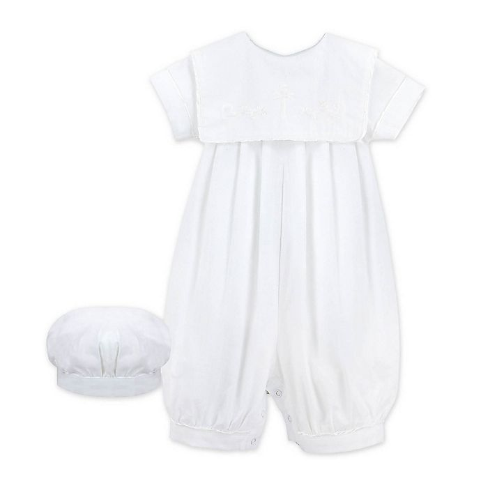 Alternate image 1 for 2-Piece Christening Coverall and Hat Set in White