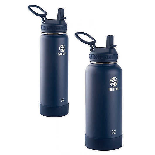 Alternate image 1 for Takeya® Actives Insulated Stainless Steel Water Bottle with Straw Lid