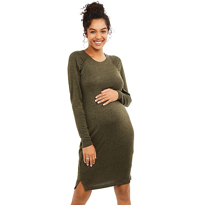 Alternate image 1 for Motherhood® Maternity Gathered Sleeve Maternity Sweater Dress
