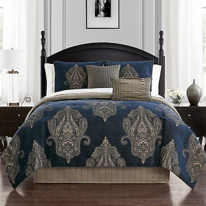 Alternate image 1 for Waterford® Ryan 4-Piece Reversible Comforter Set