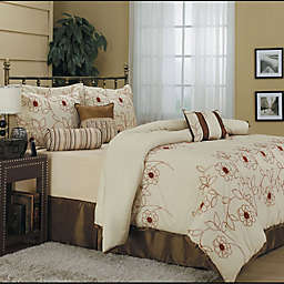 Nanshing Margaret 7-Piece Full Comforter Set in Beige