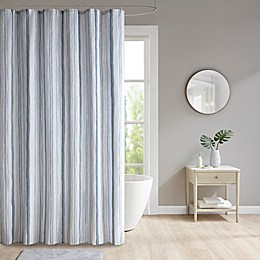 Lara Striped Shower Curtain in Blue