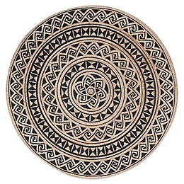 Tribal Circular Hand Braided Round Area Rug in Tan/Black