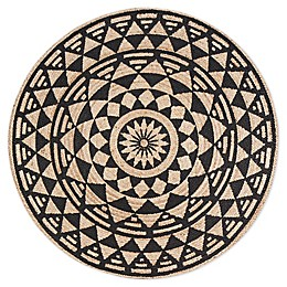Tribal Star Round Rug in Tan/Black