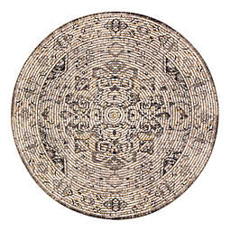Zagros 6' Round Handcrafted Area Rug in Brown/Grey