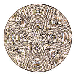 Zagros 8' Round Handcrafted Area Rug in Brown/Grey