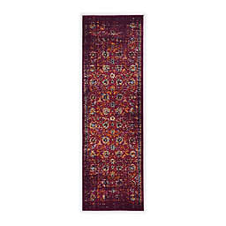 Linon Home Staten Grenich 2' x 8' Runner in Raspberry