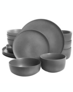 Vajilla de cerámica Artisanal Kitchen Supply® Soto color gris ceniza, Set de 16 piezas