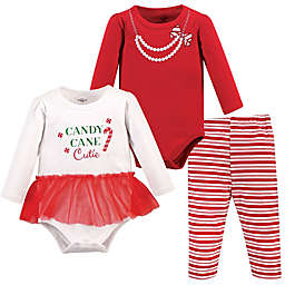 Little Treasure™ Size 6-9M 3-Piece Candy Cane Cutie Bodysuits and Pant Set in Red Stripe