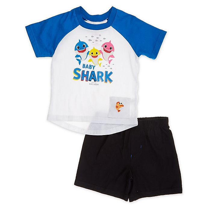 Alternate image 1 for Pink Fong 2-Piece Baby Shark Singing Toddler Shirt and Short Set in Blue