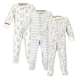 Touched by Nature Preemie 3-Pack Organic Cotton Farm Friends Sleep and Play Footies in Cream
