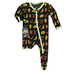 KicKee Pants® Zebra Garden Veggies Footie Pajama in Black