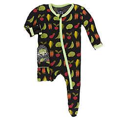 KicKee Pants® Zebra Garden Veggies Footie Pajama in Black