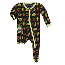 KicKee Pants® Toddler Zebra Garden Veggies Footie Pajama in Black