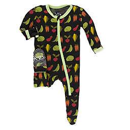 KicKee Pants® Toddler Zebra Garden Veggies Footie Pajama in Black