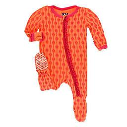 KicKee Pants® Newborn Leaf Lattice Footie Pajama in Orange