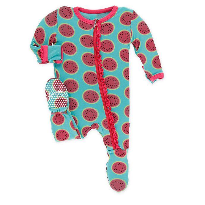 Alternate image 1 for KicKee Pants® Toddler Watermelon Footie Pajama in Blue