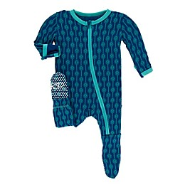 KicKee Pants® Leaf Lattice Footie Pajama in Navy
