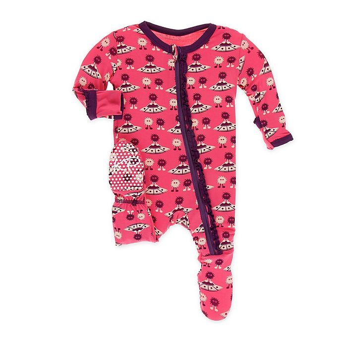 Alternate image 1 for KicKee Pants® Toddler Aliens Footie Pajama in Red