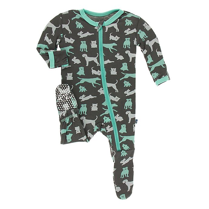 Alternate image 1 for KicKee Pants® Toddler Domestic Animals Footie Pajama in Grey