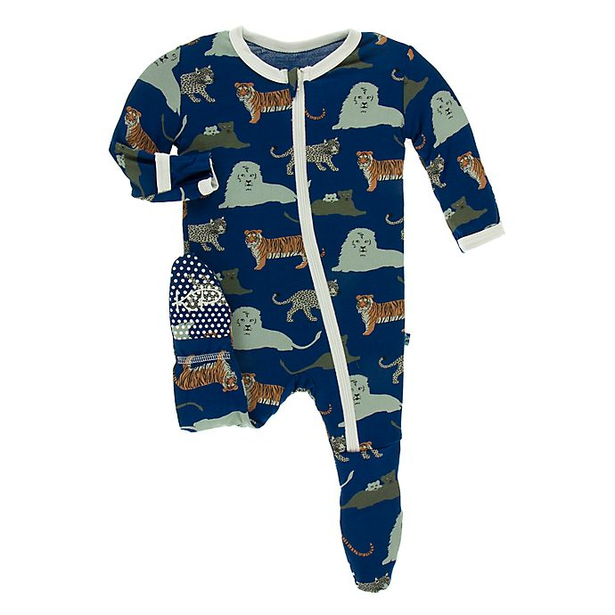 Alternate image 1 for KicKee Pants® Toddler Big Cat Footie Pajama in Blue