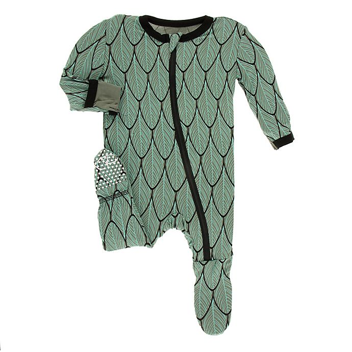Alternate image 1 for KicKee Pants® Toddler Feathers Footie Pajama in Green