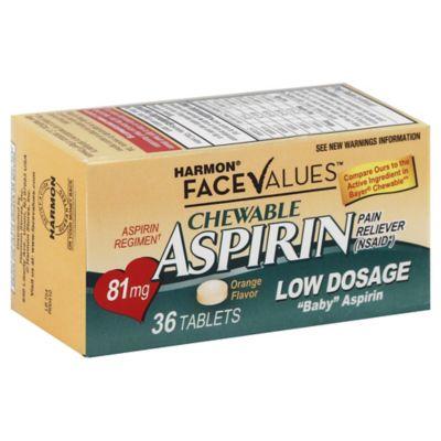 Harmon 174 Face Values 36 Count Low Dosage Chewable Aspirin