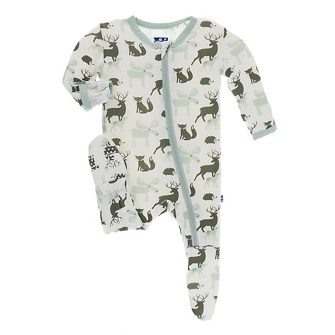 Alternate image 1 for KicKee Pants® Toddler Forest Animal Footie Pajama in White