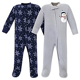 Hudson Baby® 2-Pack Snowman Fleece Sleep N' Plays in Blue