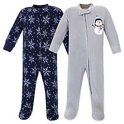 Hudson Baby® 2-Pack Snowman Fleece Sleep N' Plays in Blue