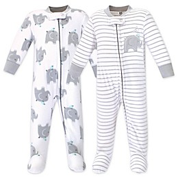 Hudson Baby® 2-Pack Elephants Fleece Sleep N' Plays in Grey