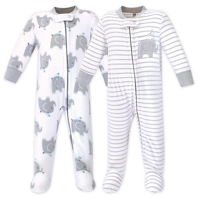 Alternate image 1 for Hudson Baby® 2-Pack Elephants Fleece Sleep N' Plays in Grey