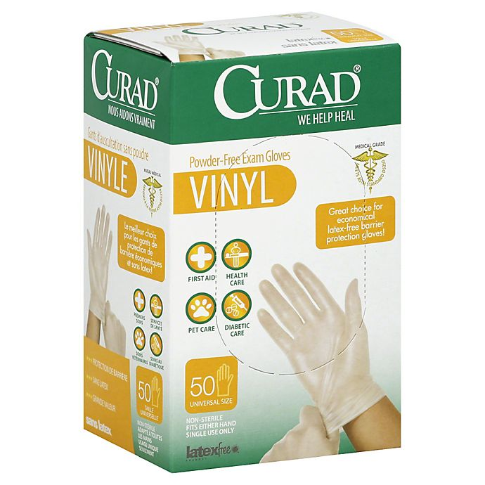 Alternate image 1 for Curad® 50-Count Vinyl Exam Gloves
