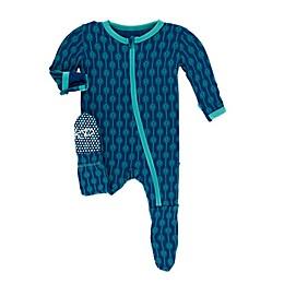 KicKee Pants® Toddler Leaf Lattice Footie Pajama in Navy