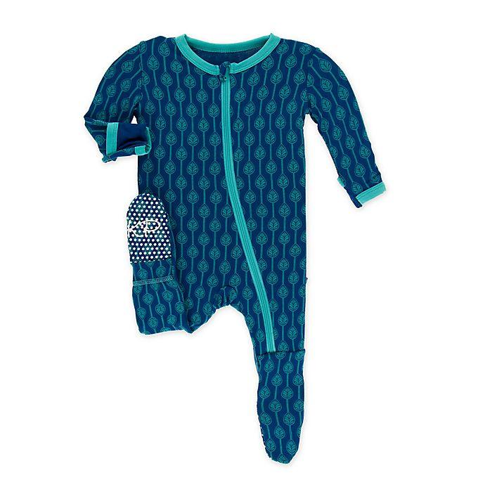 Alternate image 1 for KicKee Pants® Toddler Leaf Lattice Footie Pajama in Navy
