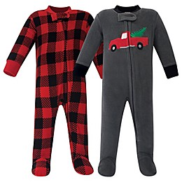 Hudson Baby® 2-Pack Xmas Tree Fleece Sleep and Play Footies in Black