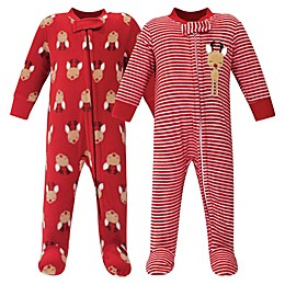 Hudson Baby® 2-Pack Reindeer Fleece Sleep and Play Footies in Red