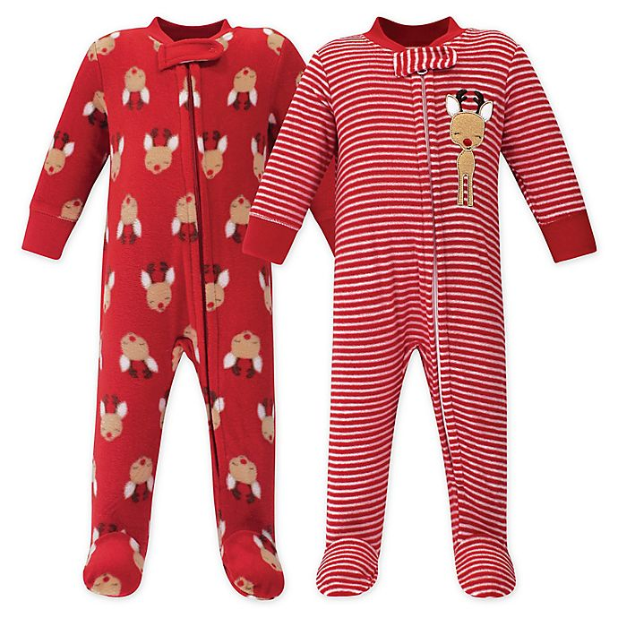 Alternate image 1 for Hudson Baby® 2-Pack Reindeer Fleece Sleep and Play Footies in Red