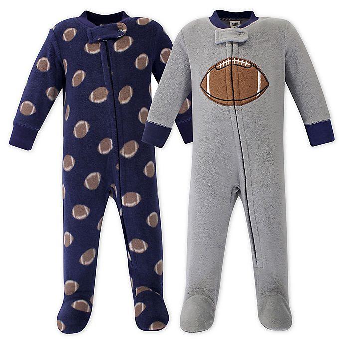 Alternate image 1 for Hudson Baby® 2-Pack Football Fleece Sleep and Play Footies in Blue