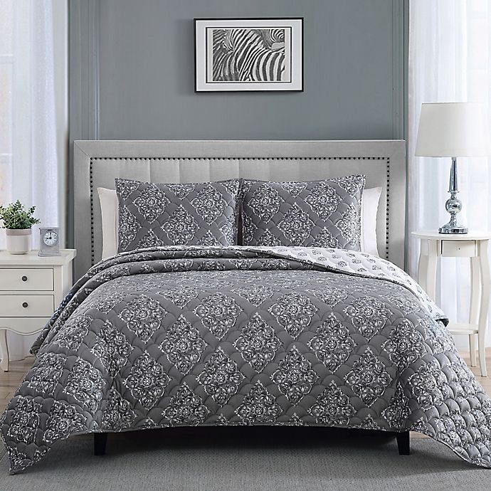 Alternate image 1 for Therapedic® 14 lb. Weighted 3-Piece Reversible King Quilt Set in Grey