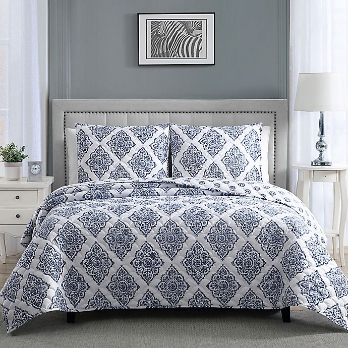 Alternate image 1 for Therapedic® 12 lb. Weighted 3-Piece Reversible Full/Queen Quilt Set in Blue