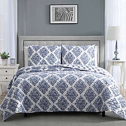 Therapedic® 12 lb. Weighted 3-Piece Reversible Full/Queen Quilt Set in Blue