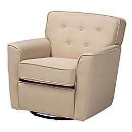 Baxton Studio Jacky Button-Tufted Swivel Armchair in Beige